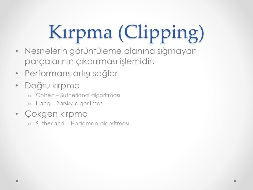Kırpma (Clipping) • Nesnelerin görüntüleme alanına sığmayan parçalarının çıkarılması işlemidir.