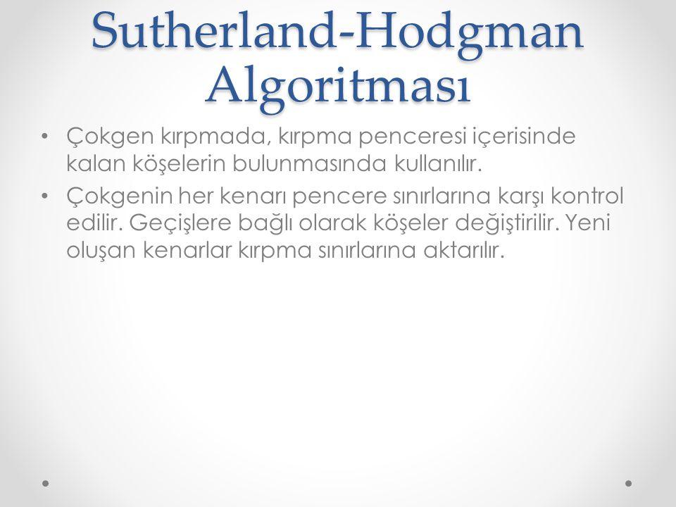 Sutherland-Hodgman Algoritması • Çokgen kırpmada, kırpma penceresi içerisinde kalan köşelerin bulunmasında kullanılır.