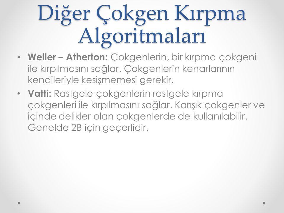 Diğer Çokgen Kırpma Algoritmaları • Weiler – Atherton: Çokgenlerin, bir kırpma çokgeni ile kırpılmasını sağlar.