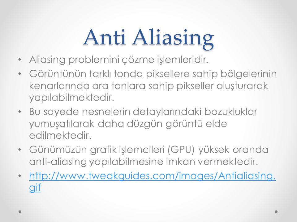 Anti Aliasing • Aliasing problemini çözme işlemleridir.