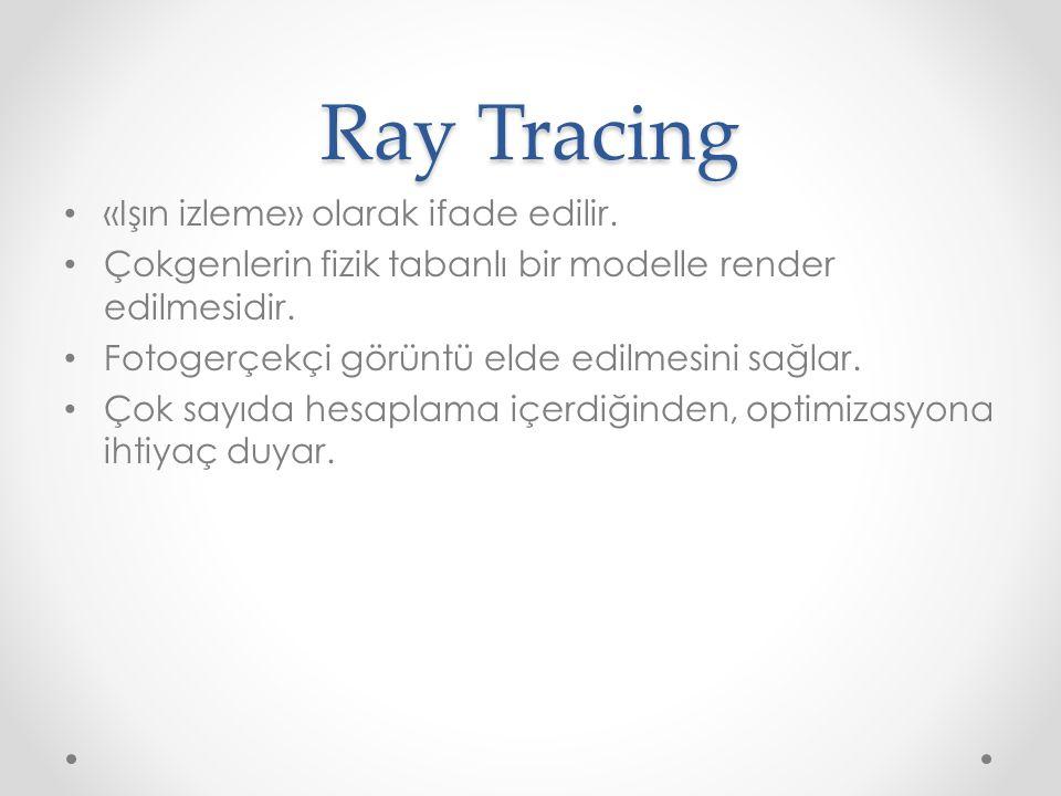 Ray Tracer • Kameradan (göz) sahnedeki nesnelerin her bir parçasına (piksel) giden ışınların geri eşleştirilmesi işini yapan programcıktır.