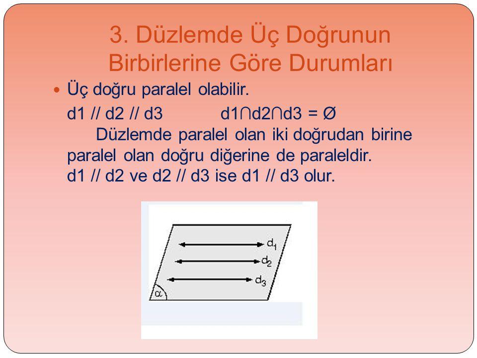 3. Düzlemde Üç Doğrunun Birbirlerine Göre Durumları  Üç doğru paralel olabilir. d1 // d2 // d3 d1∩d2∩d3 = Ø Düzlemde paralel olan iki doğrudan birine