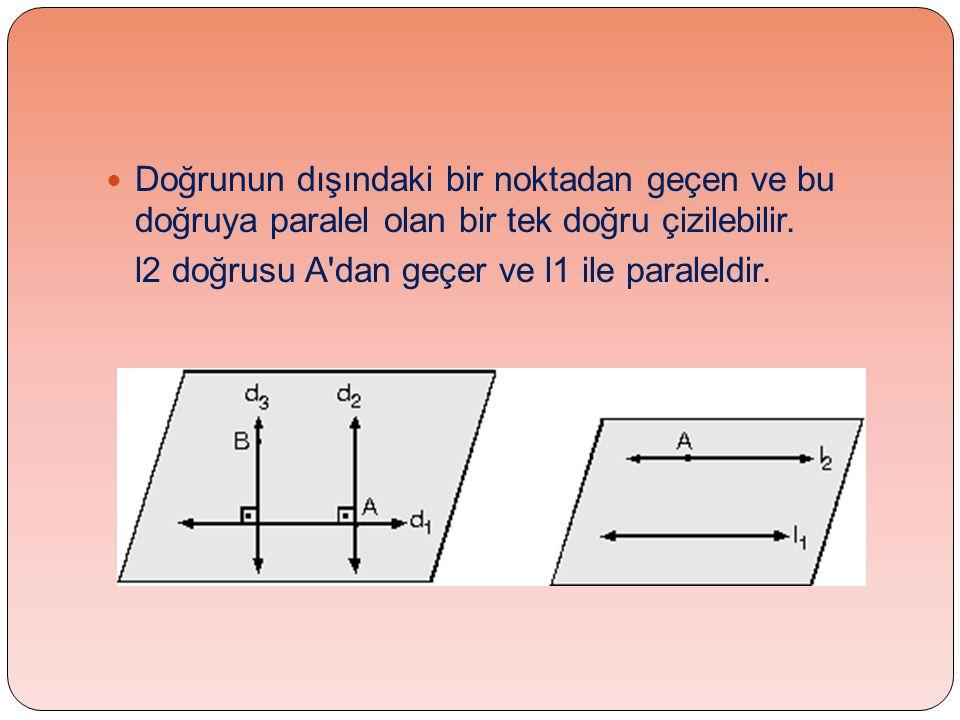  Doğrunun dışındaki bir noktadan geçen ve bu doğruya paralel olan bir tek doğru çizilebilir. l2 doğrusu A'dan geçer ve l1 ile paraleldir.