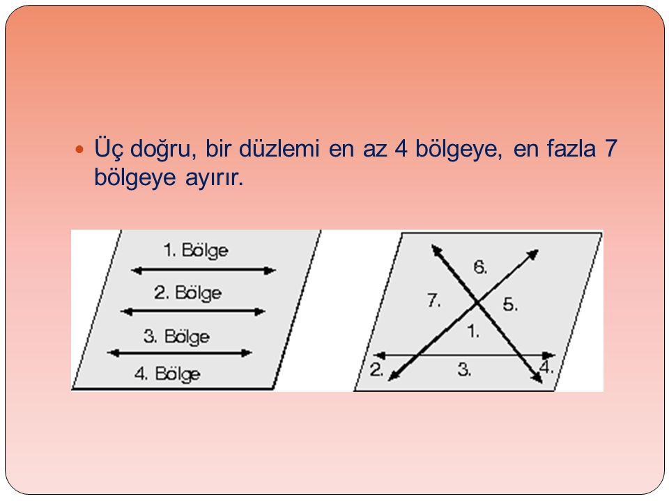  Üç doğru, bir düzlemi en az 4 bölgeye, en fazla 7 bölgeye ayırır.