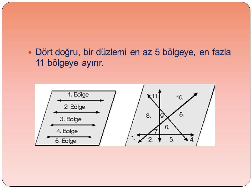  Dört doğru, bir düzlemi en az 5 bölgeye, en fazla 11 bölgeye ayırır.