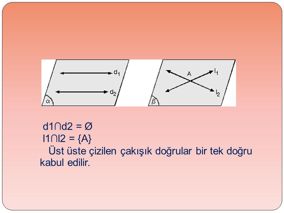 d1∩d2 = Ø l1∩l2 = {A} Üst üste çizilen çakışık doğrular bir tek doğru kabul edilir.