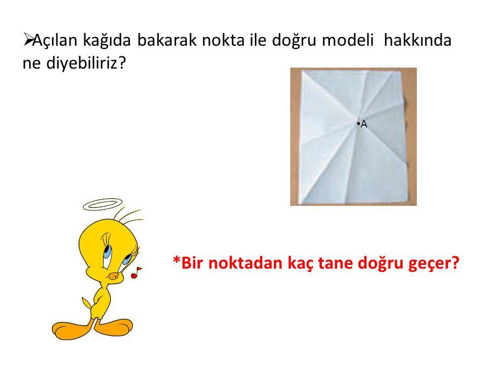  Açılan kağıda bakarak nokta ile doğru modeli hakkında ne diyebiliriz? •A•A *Bir noktadan kaç tane doğru geçer?