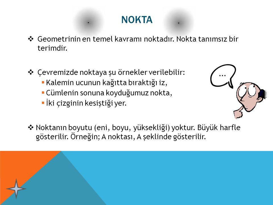 NOKTA  Geometrinin en temel kavramı noktadır. Nokta tanımsız bir terimdir.  Çevremizde noktaya şu örnekler verilebilir:  Kalemin ucunun kağıtta bır