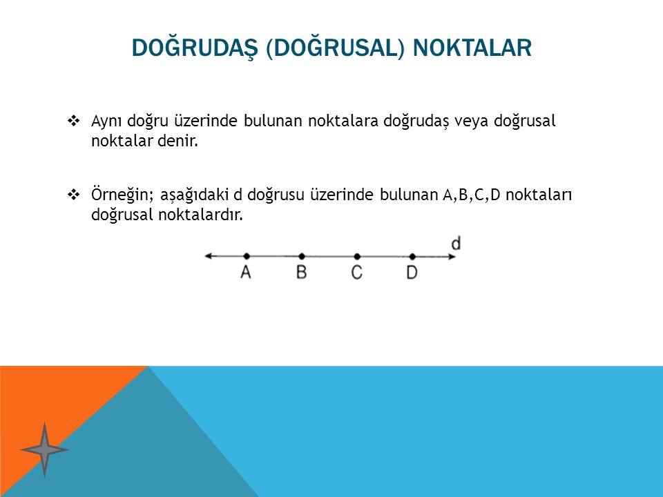 DOĞRUDAŞ (DOĞRUSAL) NOKTALAR  Aynı doğru üzerinde bulunan noktalara doğrudaş veya doğrusal noktalar denir.  Örneğin; aşağıdaki d doğrusu üzerinde bu