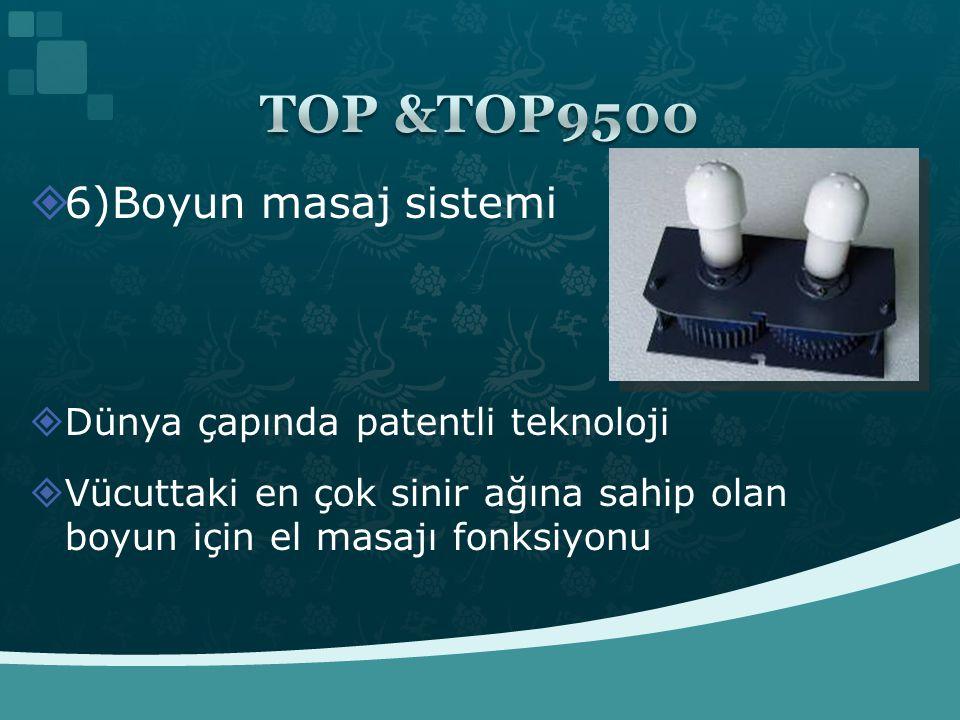  6)Boyun masaj sistemi  Dünya çapında patentli teknoloji  Vücuttaki en çok sinir ağına sahip olan boyun için el masajı fonksiyonu