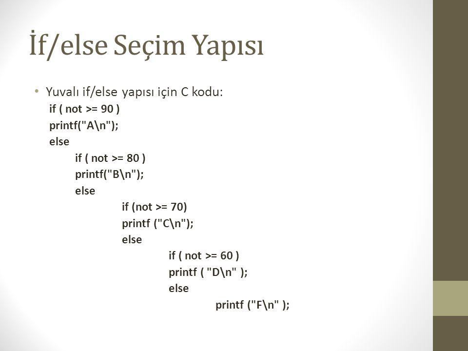 İf/else Seçim Yapısı • Yuvalı if/else yapısı için C kodu: if ( not >= 90 ) printf(