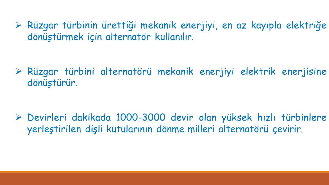  Rüzgar türbinin ürettiği mekanik enerjiyi, en az kayıpla elektriğe dönüştürmek için alternatör kullanılır.  Rüzgar türbini alternatörü mekanik ener