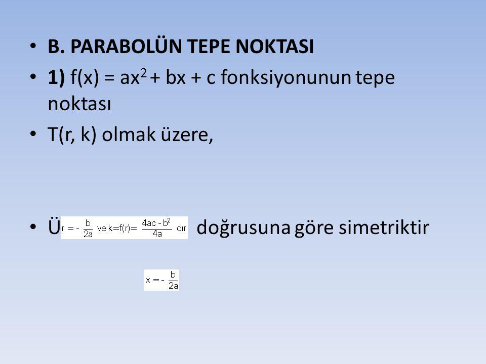 • B. PARABOLÜN TEPE NOKTASI • 1) f(x) = ax 2 + bx + c fonksiyonunun tepe noktası • T(r, k) olmak üzere, • Ü Parabol doğrusuna göre simetriktir