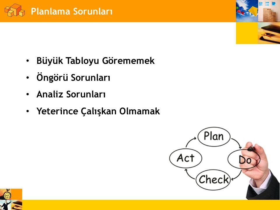 Planlama Sorunları • Büyük Tabloyu Görememek • Öngörü Sorunları • Analiz Sorunları • Yeterince Çalışkan Olmamak