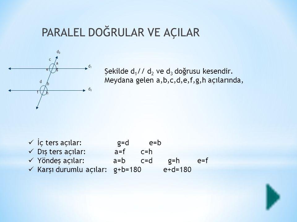 PARALEL DOĞRULAR VE AÇILAR Şekilde d 1 // d 2 ve d 3 doğrusu kesendir.