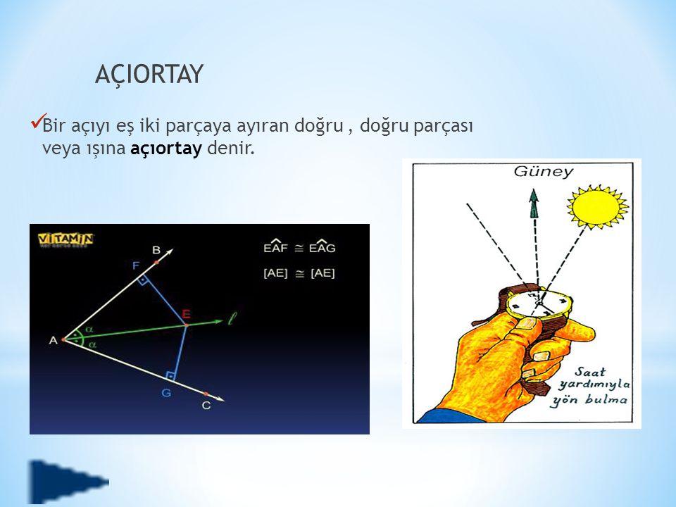 AÇIORTAY  Bir açıyı eş iki parçaya ayıran doğru, doğru parçası veya ışına açıortay denir.