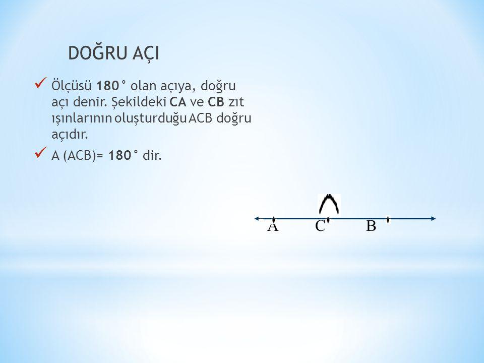 DOĞRU AÇI  Ölçüsü 180° olan açıya, doğru açı denir.