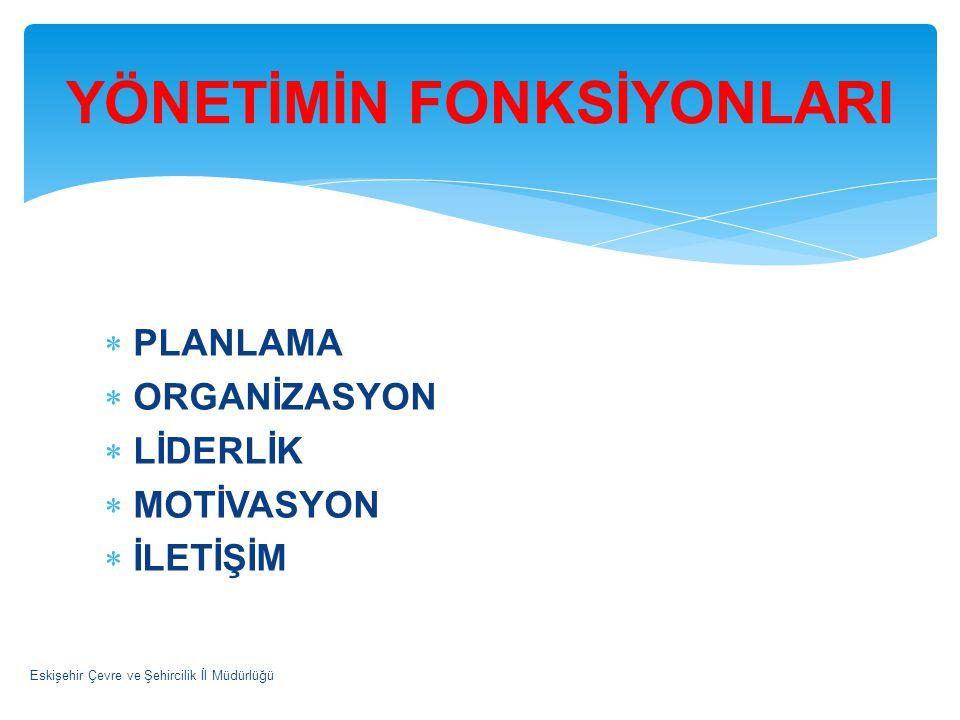  PLANLAMA  ORGANİZASYON  LİDERLİK  MOTİVASYON  İLETİŞİM Eskişehir Çevre ve Şehircilik İl Müdürlüğü YÖNETİMİN FONKSİYONLARI