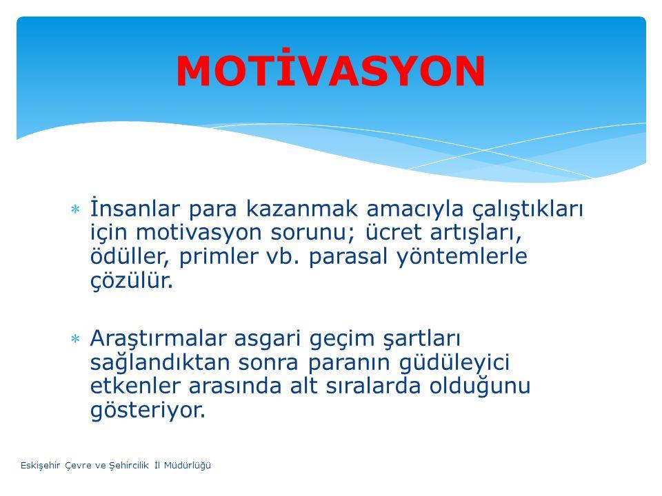 İnsanlar para kazanmak amacıyla çalıştıkları için motivasyon sorunu; ücret artışları, ödüller, primler vb. parasal yöntemlerle çözülür. Araştırmalar