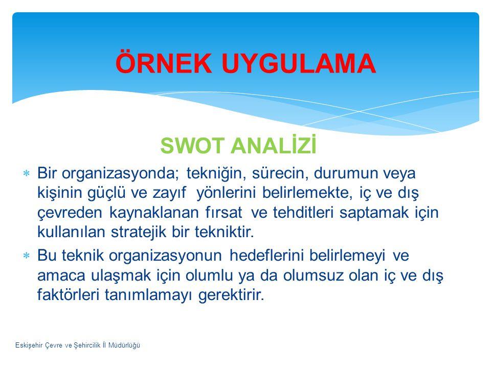SWOT ANALİZİ  Bir organizasyonda; tekniğin, sürecin, durumun veya kişinin güçlü ve zayıf yönlerini belirlemekte, iç ve dış çevreden kaynaklanan fırsa