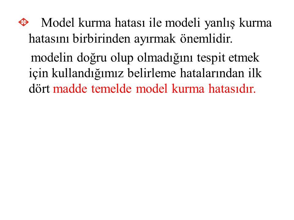Model kurma hatası ile modeli yanlış kurma hatasını birbirinden ayırmak önemlidir. modelin doğru olup olmadığını tespit etmek için kullandığımız belir