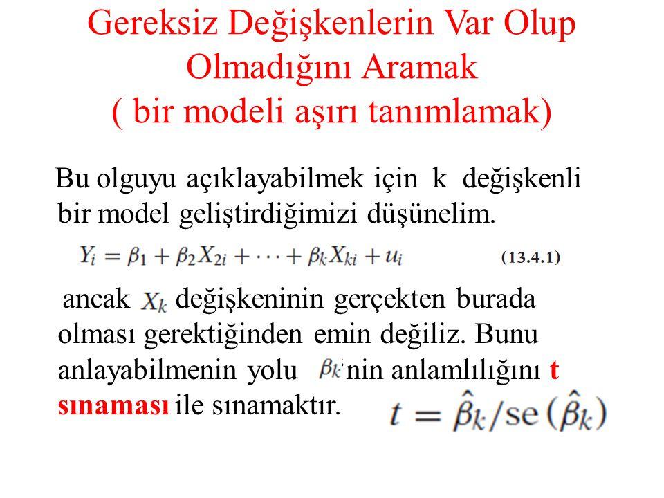 Gereksiz Değişkenlerin Var Olup Olmadığını Aramak ( bir modeli aşırı tanımlamak) Bu olguyu açıklayabilmek için k değişkenli bir model geliştirdiğimizi