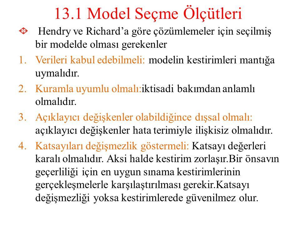13.1 Model Seçme Ölçütleri Hendry ve Richard'a göre çözümlemeler için seçilmiş bir modelde olması gerekenler 1.Verileri kabul edebilmeli: modelin kest