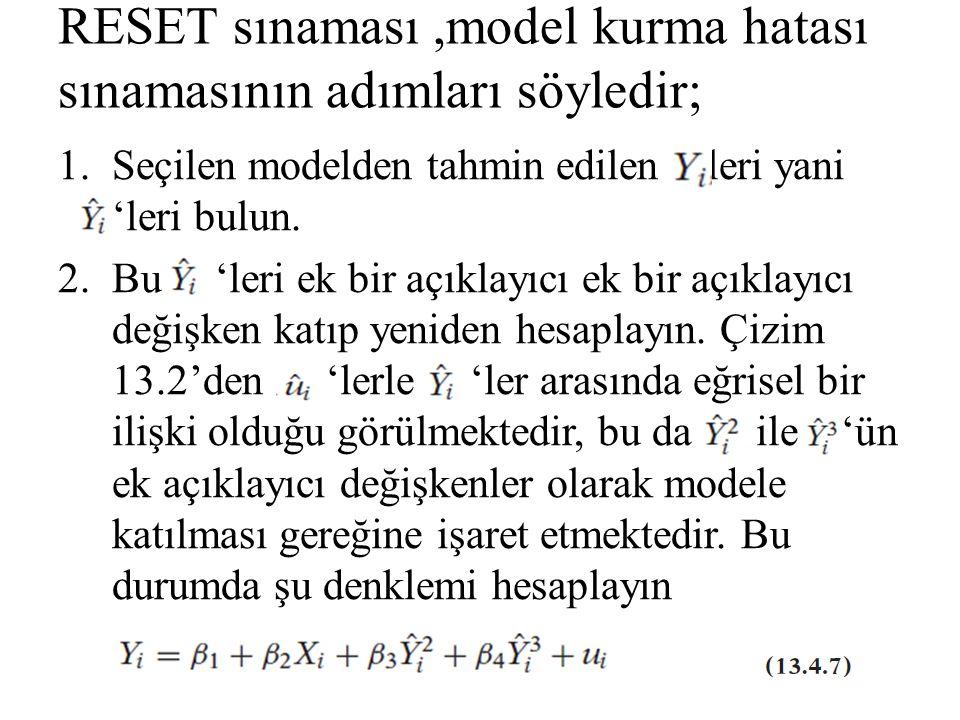 RESET sınaması,model kurma hatası sınamasının adımları söyledir; 1.Seçilen modelden tahmin edilen 'leri yani 'leri bulun. 2.Bu 'leri ek bir açıklayıcı