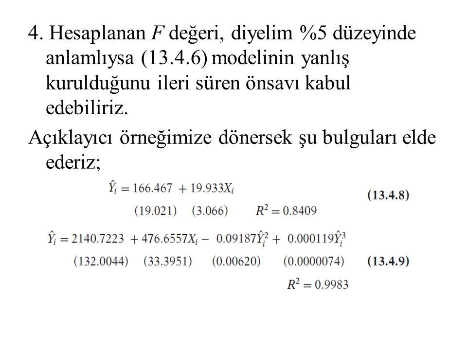 4. Hesaplanan F değeri, diyelim %5 düzeyinde anlamlıysa (13.4.6) modelinin yanlış kurulduğunu ileri süren önsavı kabul edebiliriz. Açıklayıcı örneğimi