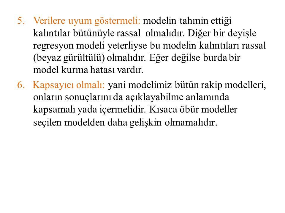 5.Verilere uyum göstermeli: modelin tahmin ettiği kalıntılar bütünüyle rassal olmalıdır. Diğer bir deyişle regresyon modeli yeterliyse bu modelin kalı