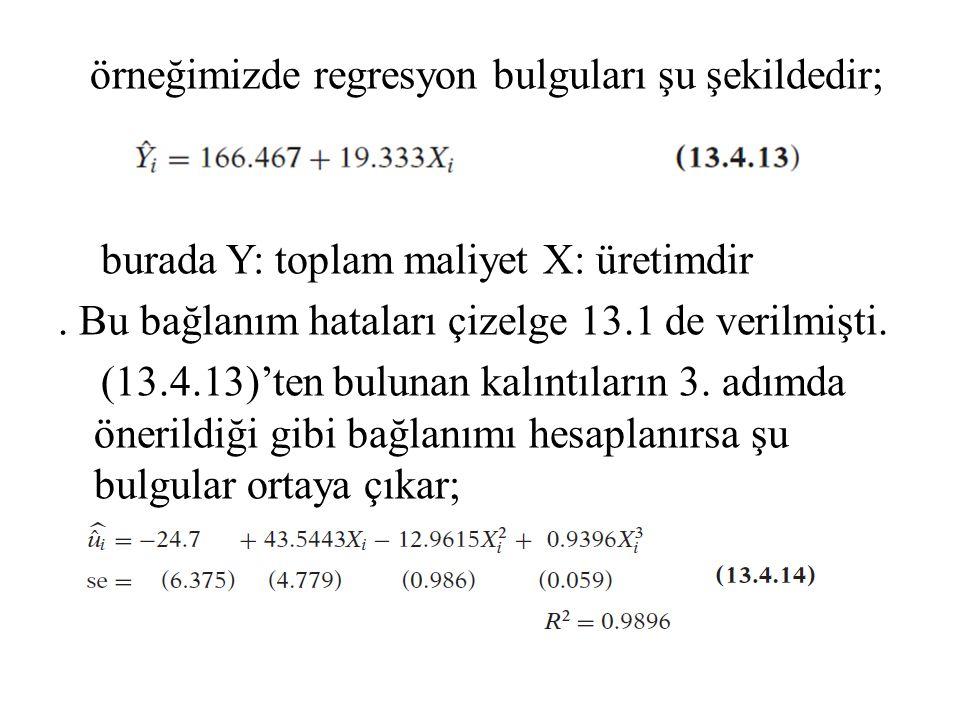 örneğimizde regresyon bulguları şu şekildedir; burada Y: toplam maliyet X: üretimdir. Bu bağlanım hataları çizelge 13.1 de verilmişti. (13.4.13)'ten b