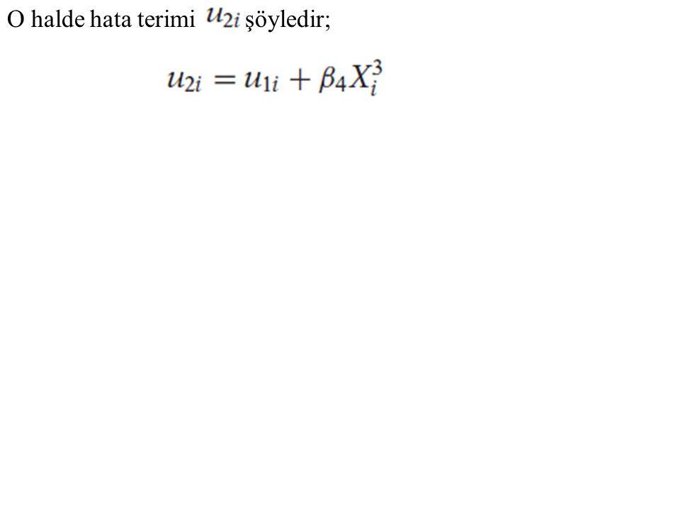 F sınamasını uygulayarak elde edeceğimiz sonuç; burada F değerinin hayli anlamlı olduğunu dolayısıyla da (13.4.8) modelinin yanlış olduğunu görürüz