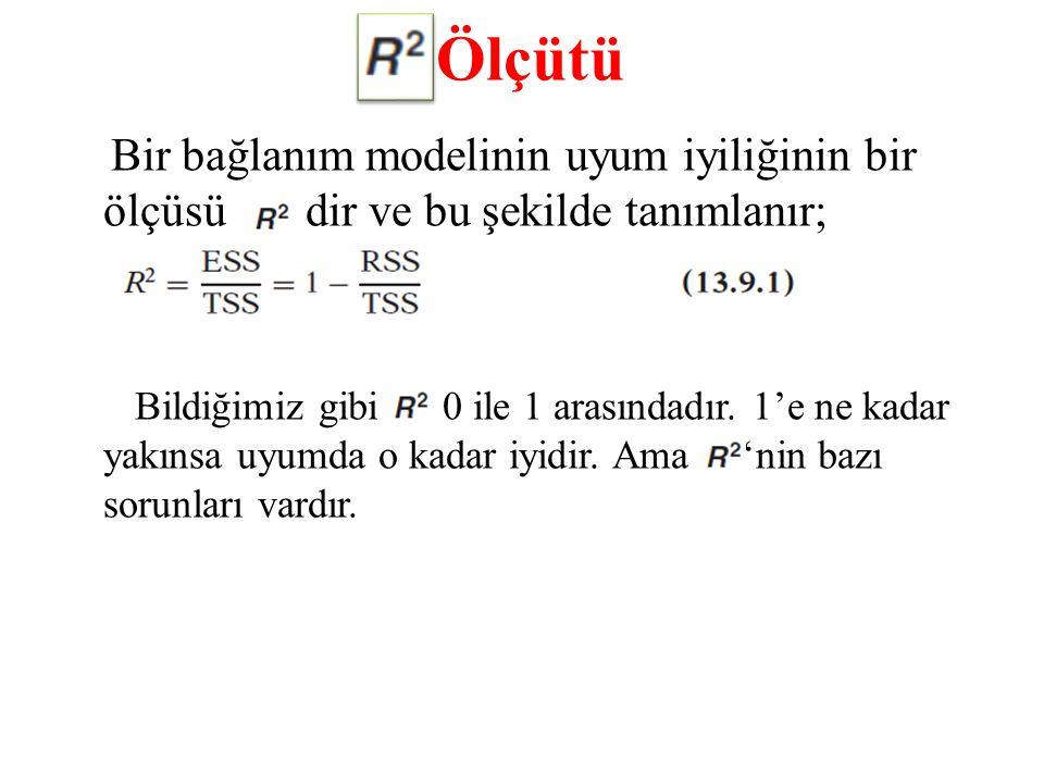 Ölçütü Bir bağlanım modelinin uyum iyiliğinin bir ölçüsü dir ve bu şekilde tanımlanır; Bildiğimiz gibi 0 ile 1 arasındadır. 1'e ne kadar yakınsa uyumd