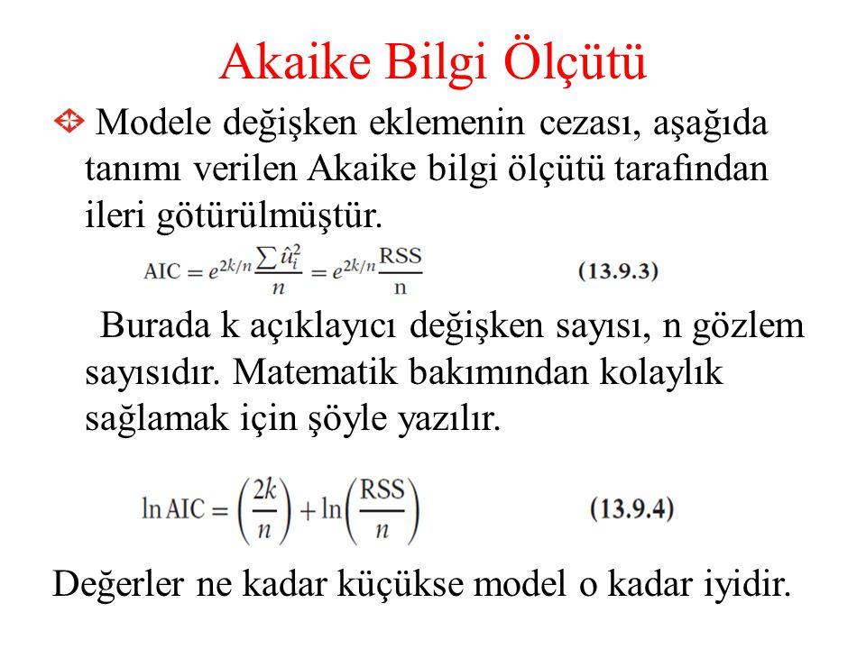 Akaike Bilgi Ölçütü Modele değişken eklemenin cezası, aşağıda tanımı verilen Akaike bilgi ölçütü tarafından ileri götürülmüştür. Burada k açıklayıcı d