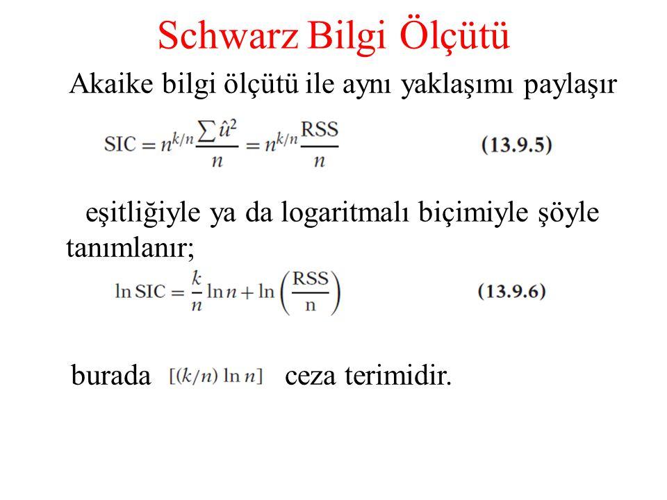 Schwarz Bilgi Ölçütü Akaike bilgi ölçütü ile aynı yaklaşımı paylaşır eşitliğiyle ya da logaritmalı biçimiyle şöyle tanımlanır; burada ceza terimidir.