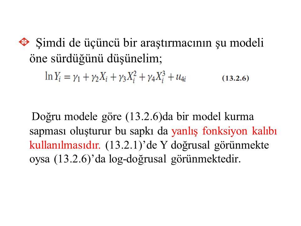 Şimdi de üçüncü bir araştırmacının şu modeli öne sürdüğünü düşünelim; Doğru modele göre (13.2.6)da bir model kurma sapması oluşturur bu sapkı da yanlı