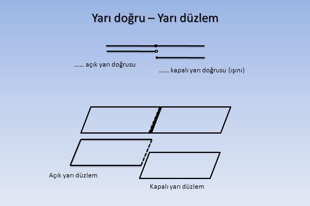 Yarı doğru – Yarı düzlem Açık yarı düzlem Kapalı yarı düzlem …… açık yarı doğrusu …… kapalı yarı doğrusu (ışını)