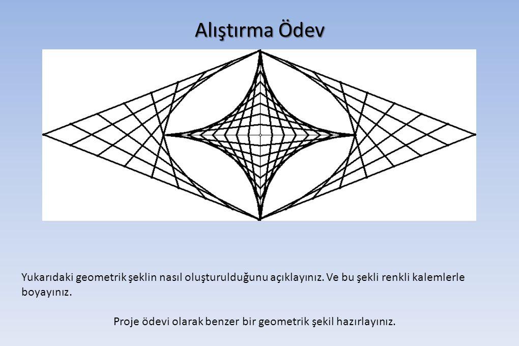 Alıştırma Ödev Yukarıdaki geometrik şeklin nasıl oluşturulduğunu açıklayınız. Ve bu şekli renkli kalemlerle boyayınız. Proje ödevi olarak benzer bir g