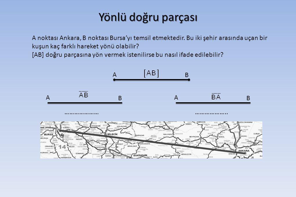 Yönlü doğru parçası A noktası Ankara, B noktası Bursa'yı temsil etmektedir. Bu iki şehir arasında uçan bir kuşun kaç farklı hareket yönü olabilir? [AB