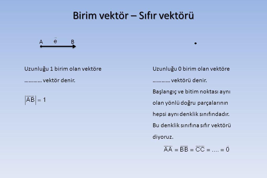 Birim vektör – Sıfır vektörü AB Uzunluğu 1 birim olan vektöre ………… vektör denir. Uzunluğu 0 birim olan vektöre ………… vektörü denir. Başlangıç ve bitim