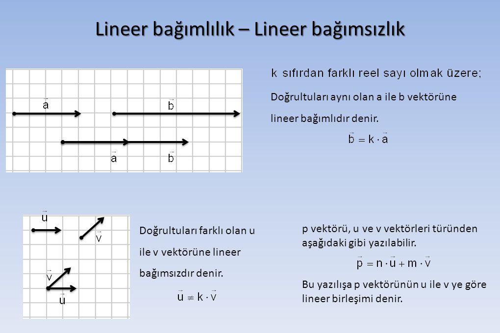 Lineer bağımlılık – Lineer bağımsızlık Doğrultuları aynı olan a ile b vektörüne lineer bağımlıdır denir. p vektörü, u ve v vektörleri türünden aşağıda