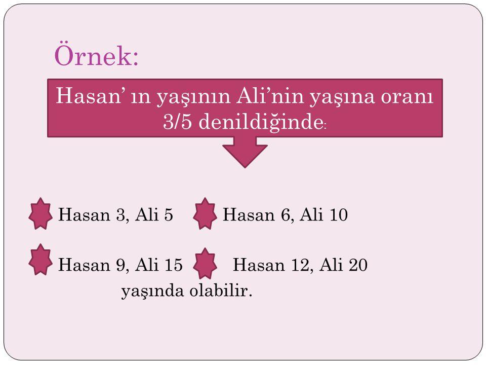 Örnek: Hasan 3, Ali 5 Hasan 6, Ali 10 Hasan 9, Ali 15 Hasan 12, Ali 20 yaşında olabilir.