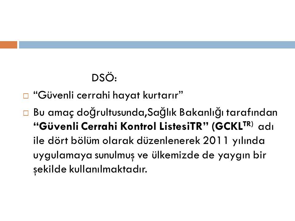 DSÖ:  Güvenli cerrahi hayat kurtarır  Bu amaç do ğ rultusunda,Sa ğ lık Bakanlı ğ ı tarafından Güvenli Cerrahi Kontrol ListesiTR (GCKL TR) adı ile dört bölüm olarak düzenlenerek 2011 yılında uygulamaya sunulmuş ve ülkemizde de yaygın bir şekilde kullanılmaktadır.