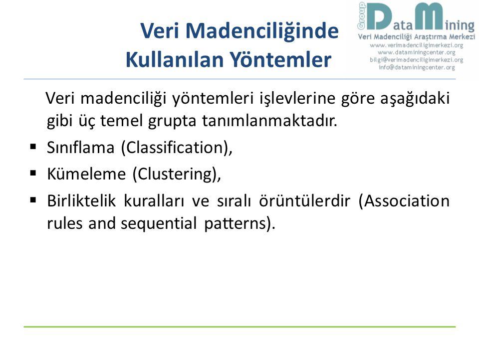 Veri Madenciliğinde Kullanılan Yöntemler Veri madenciliği yöntemleri işlevlerine göre aşağıdaki gibi üç temel grupta tanımlanmaktadır.  Sınıflama (Cl
