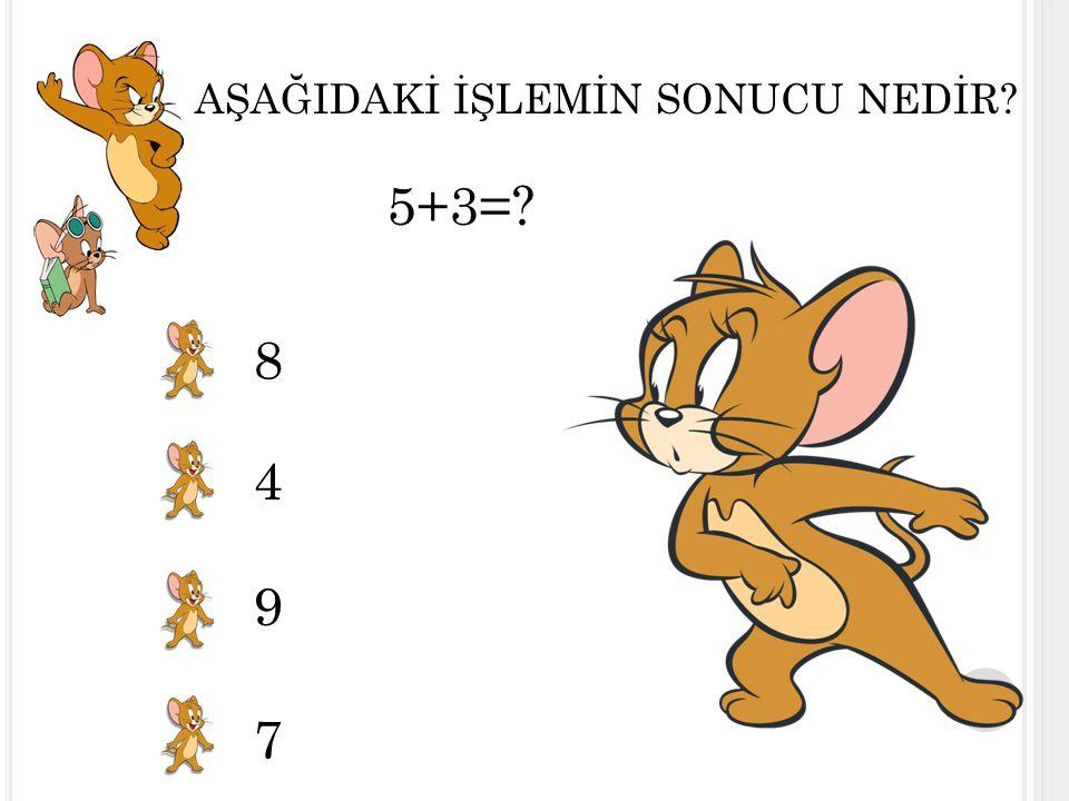 AŞAĞIDAKİ İŞLEMİN SONUCU NEDİR? 5+3=? 8 4 9 7