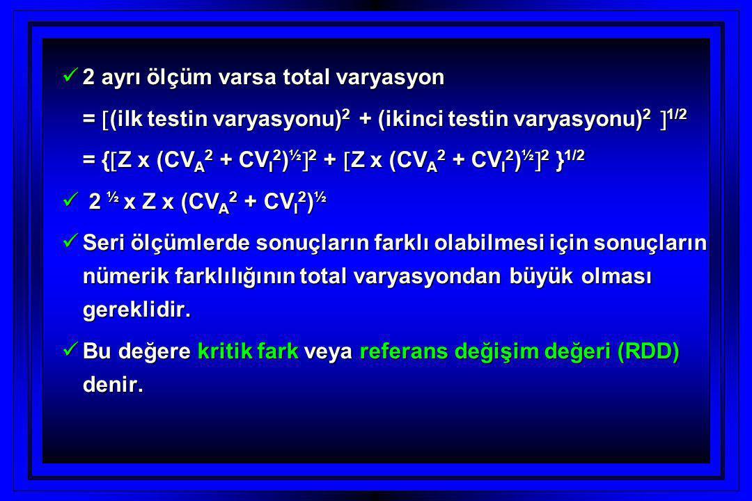  2 ayrı ölçüm varsa total varyasyon =  (ilk testin varyasyonu) 2 + (ikinci testin varyasyonu) 2  1/2 = {  Z x (CV A 2 + CV I 2 ) ½  2 +  Z x (CV A 2 + CV I 2 ) ½  2 } 1/2  2 ½ x Z x (CV A 2 + CV I 2 ) ½  Seri ölçümlerde sonuçların farklı olabilmesi için sonuçların nümerik farklılığının total varyasyondan büyük olması gereklidir.