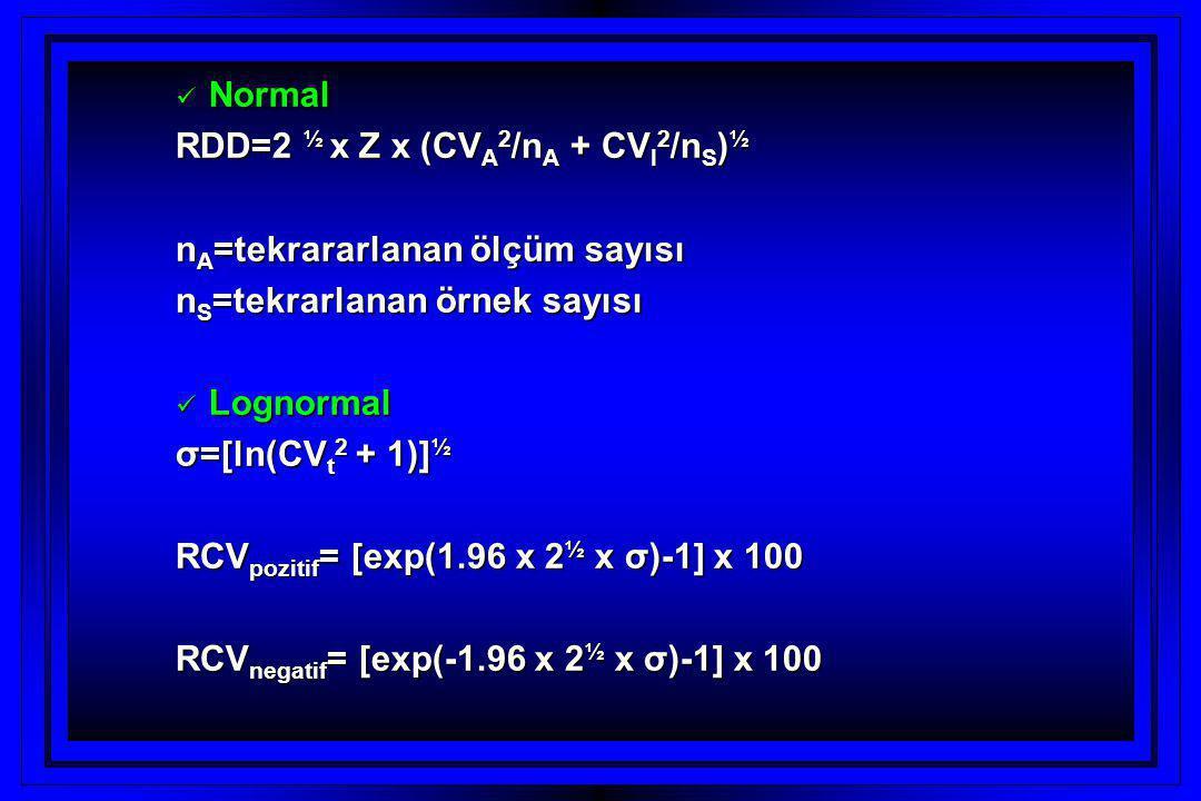  Normal RDD=2 ½ x Z x (CV A 2 /n A + CV I 2 /n S ) ½ n A =tekrararlanan ölçüm sayısı n S =tekrarlanan örnek sayısı  Lognormal σ=[ln(CV t 2 + 1)] ½ RCV pozitif = [exp(1.96 x 2 ½ x σ)-1] x 100 RCV negatif = [exp(-1.96 x 2 ½ x σ)-1] x 100