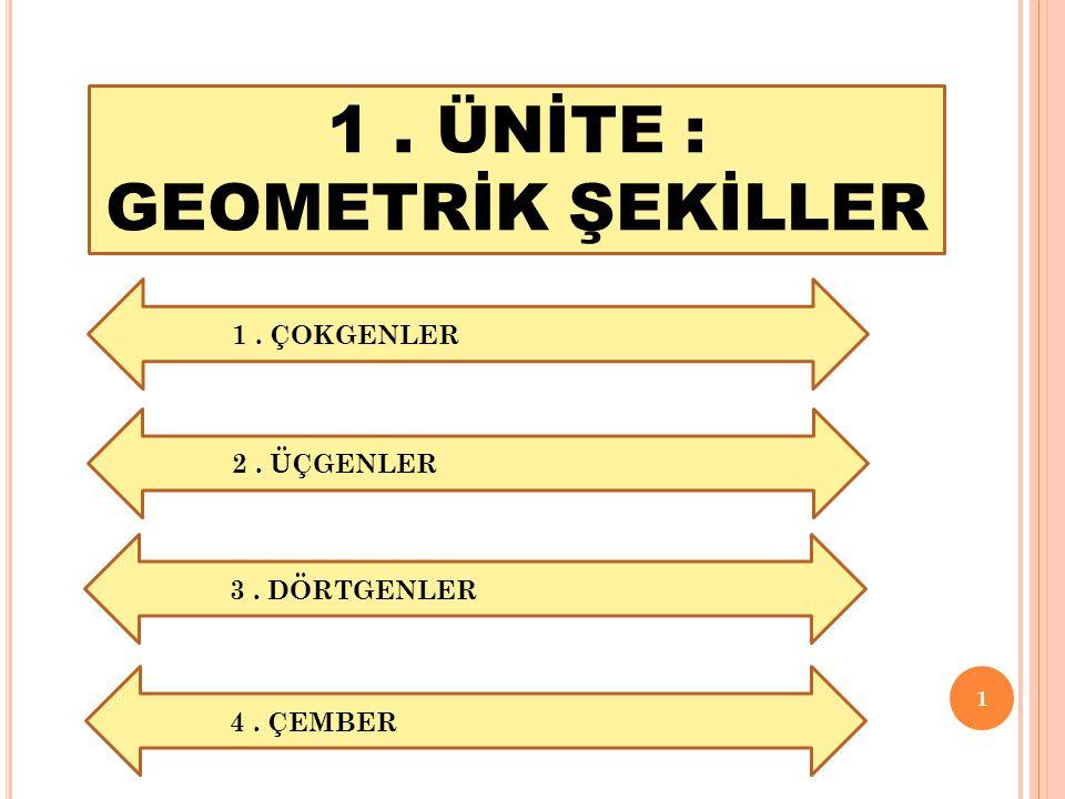 1 1. ÜNİTE : GEOMETRİK ŞEKİLLER 1. ÇOKGENLER 2. ÜÇGENLER 3. DÖRTGENLER 4. ÇEMBER