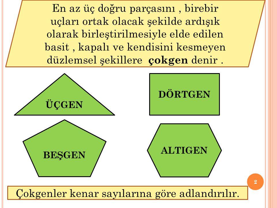 2 En az üç doğru parçasını, birebir uçları ortak olacak şekilde ardışık olarak birleştirilmesiyle elde edilen basit, kapalı ve kendisini kesmeyen düzl