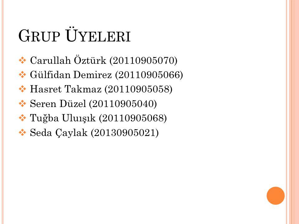 G RUP Ü YELERI  Carullah Öztürk (20110905070)  Gülfidan Demirez (20110905066)  Hasret Takmaz (20110905058)  Seren Düzel (20110905040)  Tuğba Uluışık (20110905068)  Seda Çaylak (20130905021)